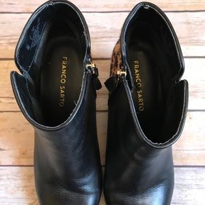Franco Sarto Shoes - Franco Sarto Quasar Black & Leopard Ankle Boots